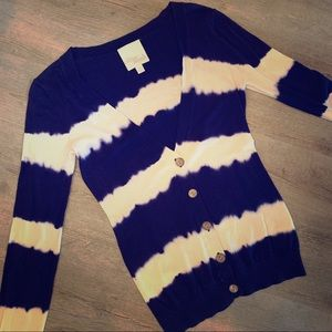 Blue & white stripe cardigan- size Small